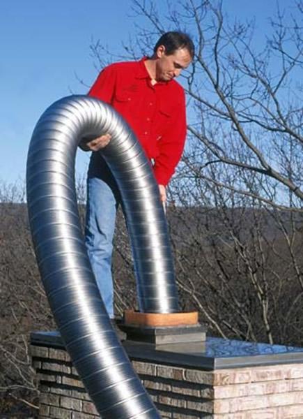 RVS flexibele schoorsteenvoering installeren